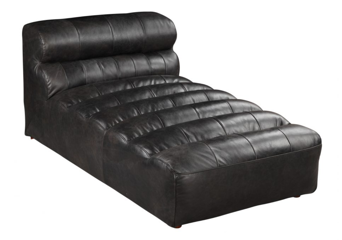 Leather Slipper Chaise Modular- Black