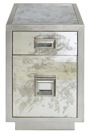 Silver Mirror Bedside Table