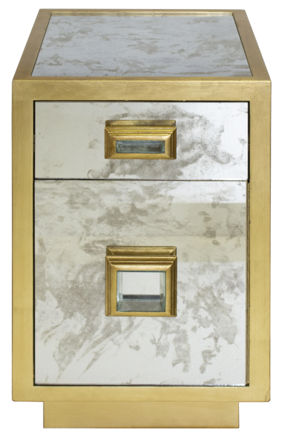 Gold Mirror Bedside Table