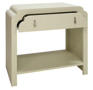 Cream Scalloped Bedside Table