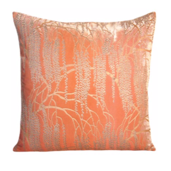 Coral Willow Velvet Pillow