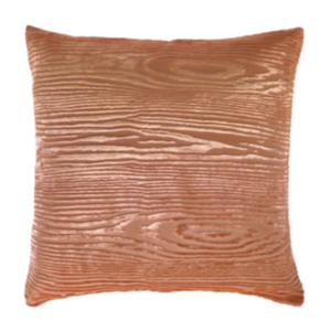 Coral Velvet Wood Pillow