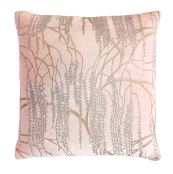 Blush Willow Velvet Pillow