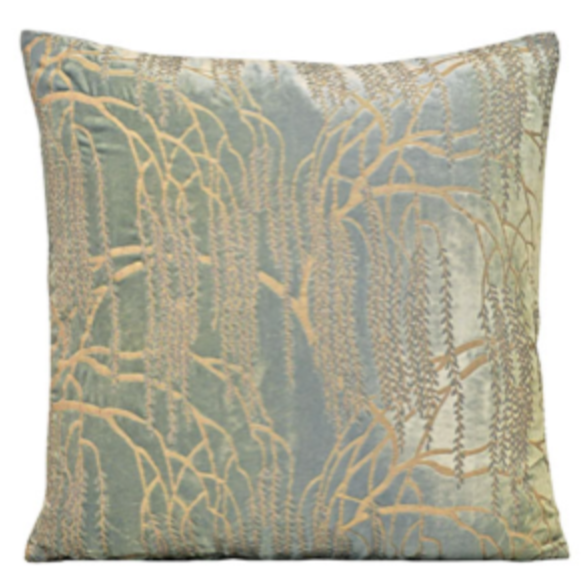 Light Sage Willow Velvet Pillow