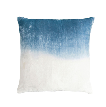 Dip Dye Velvet Pillow in Azul