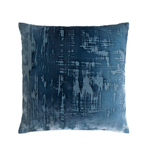 Brush Stroke Velvet Pillow in Denim- 8 Size Variants