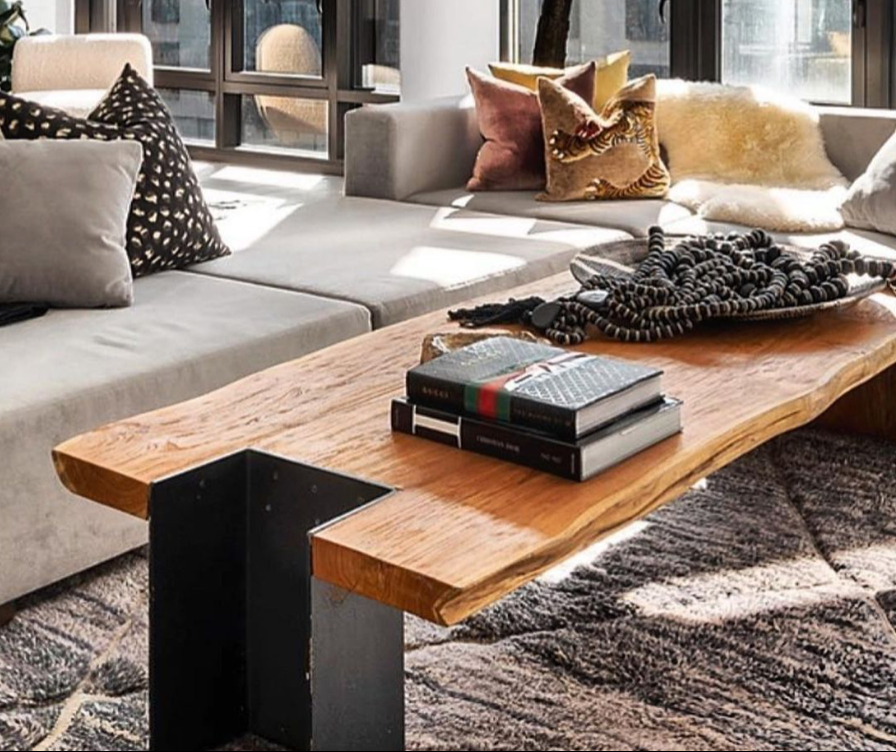 Teak Coffee Table with brushed metal