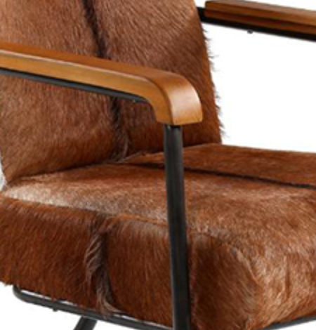 Cowhide and Metal Occasional Chair