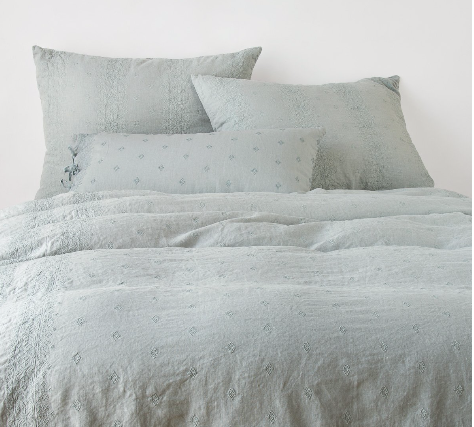 Inca Embroidered Linen Duvet Cover