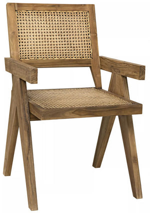 Cane Dining Chair with Arms- Natural