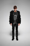 depeche black faux fur coat WOOL jacket - retro mens clothing vintage menswear mens fashion style