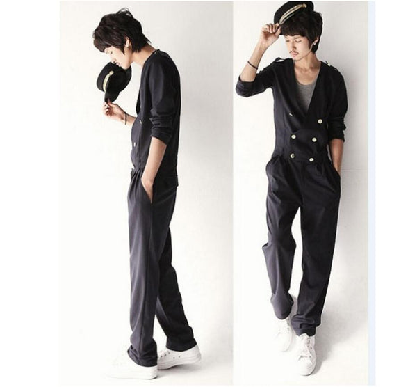 laurent One-piece men's casual jumpsuit black Double breasted - retro mens clothing vintage menswear mens fashion style