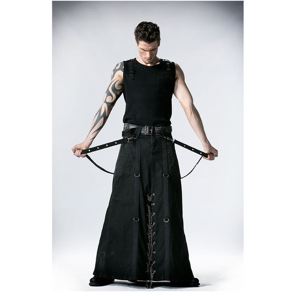 trent Mens Black Skirt Steampunk maxi long kilt - retro mens clothing vintage menswear mens fashion style