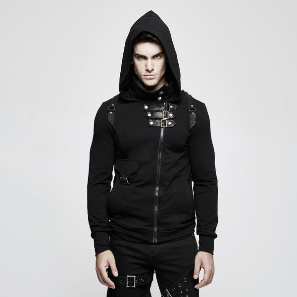 assassin Steampunk Men's Black Hoodie jacket - retro mens clothing vintage menswear mens fashion style