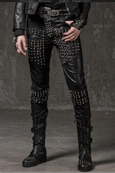 halford Men's spikes vegan Leather Pants Trousers Black vinyl - retro mens clothing vintage menswear mens fashion style