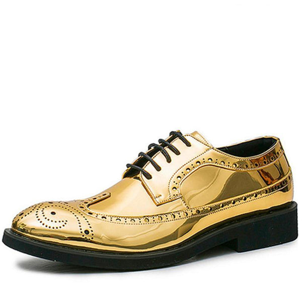 gold metallic Retro Brogues Shoes Patent Leather black grey gray - retro mens clothing vintage menswear mens fashion style