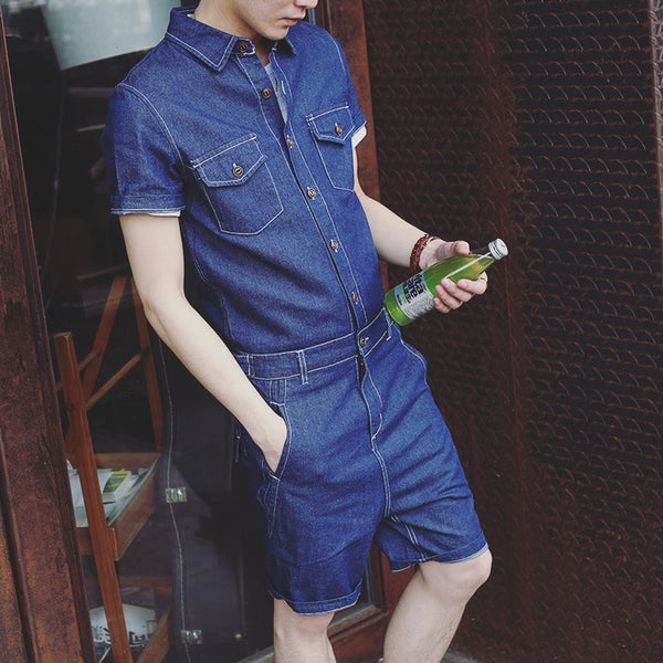 denim Retro Mens Romper Street Wear Jumpsuit Overalls Union Suit - retro mens clothing vintage menswear mens fashion style