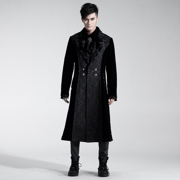 dante velvet Winter gothic Black Steampunk Long Mens coat jacket - retro mens clothing vintage menswear mens fashion style