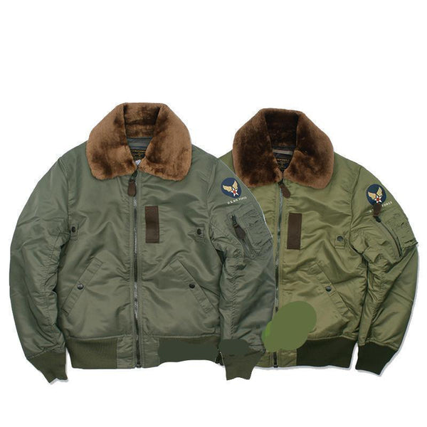 USAF Army WW2 B15  Vintage Flight Bomber Jacket Military USAAF Winter Coat - retro mens clothing vintage menswear mens fashion style