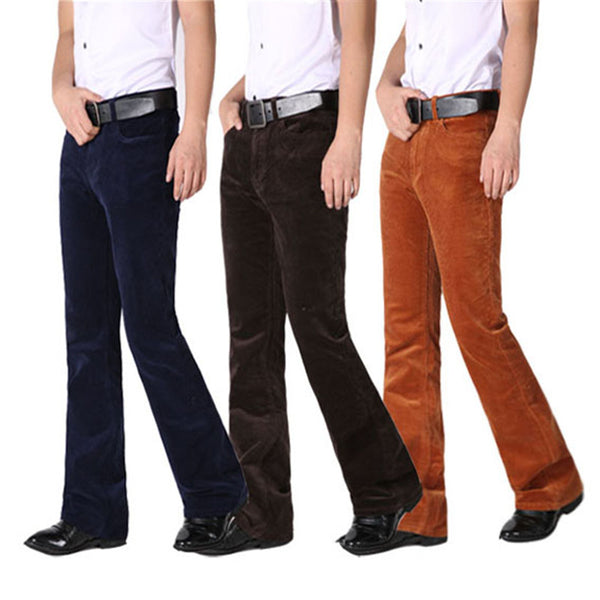 billy bob Corduroy Boot Cut Pants Male Flares Trousers - retro mens clothing vintage menswear mens fashion style