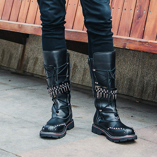 356f65bcd38 plissken Knee High Shoes Black Lace Up Tall Motorcycle Boots