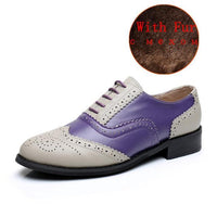 brogues Genuine leather oxford shoes vintage retro loafers blue black white fur purple - retro mens clothing vintage menswear mens fashion style