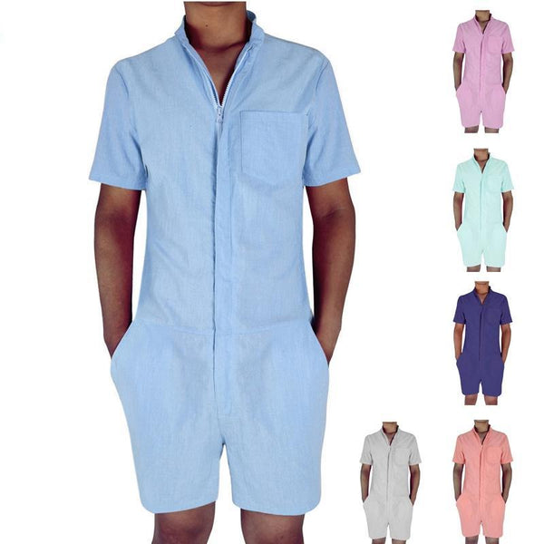 connery Summer Short Sleeve Casual Men's Romper Single Breasted Jumpsuit Overalls shorts - retro mens clothing vintage menswear mens fashion style
