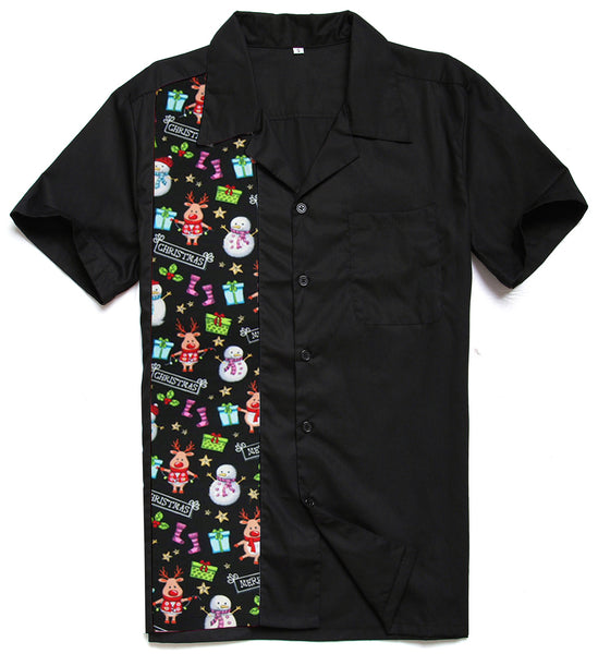 ugly christmas Novelty bowling Shirt Cotton Rockabilly Vintage 40s 50s Mens Clothes - retro mens clothing vintage menswear mens fashion style