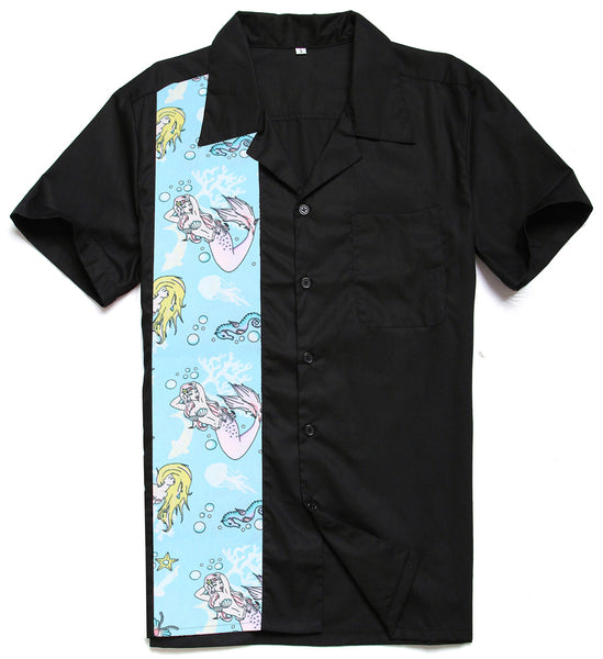 mermaid Men's Short Sleeve Casual Shirt Rockabilly Vintage 40s 50s - retro mens clothing vintage menswear mens fashion style