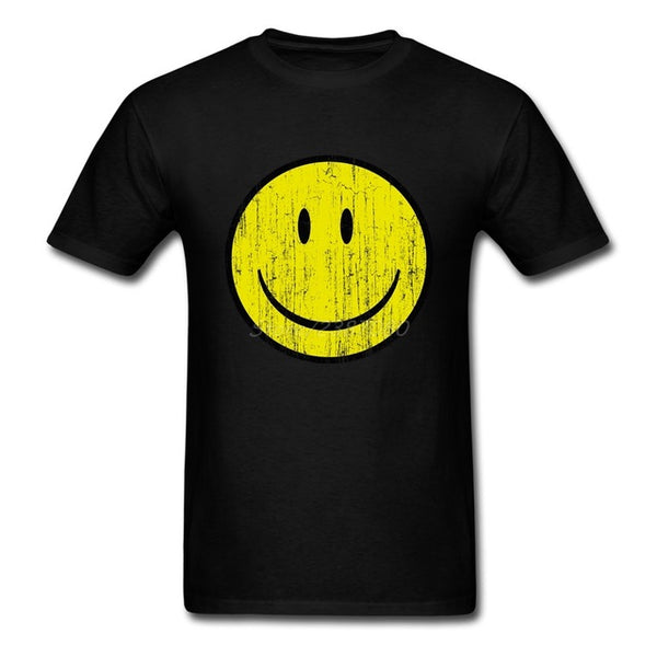 happy face Smiley Grunge T Shirt Short Sleeve Men's Tshirt - retro mens clothing vintage menswear mens fashion style