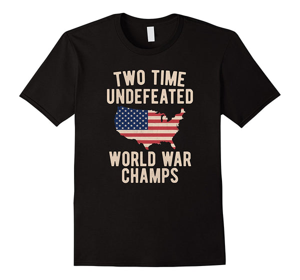 Two Time WW1 WW2 American Flag Champions TShirt Tee shirt - retro mens clothing vintage menswear mens fashion style