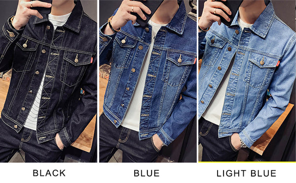 luke Denim Jacket classic Jeans Men black blue - retro mens clothing vintage menswear mens fashion style