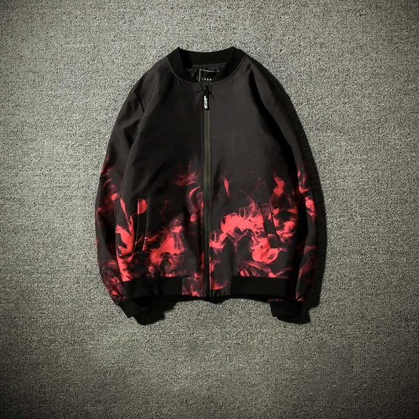flames Bomber Jacket white black red fire - retro mens clothing vintage menswear mens fashion style