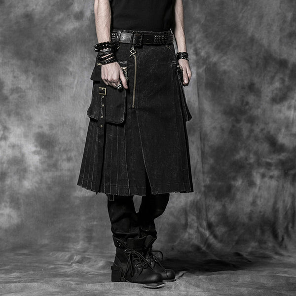 black mcgregor kilt Gothic Rock Mens Fashion Skirt Cargo - retro mens clothing vintage menswear mens fashion style