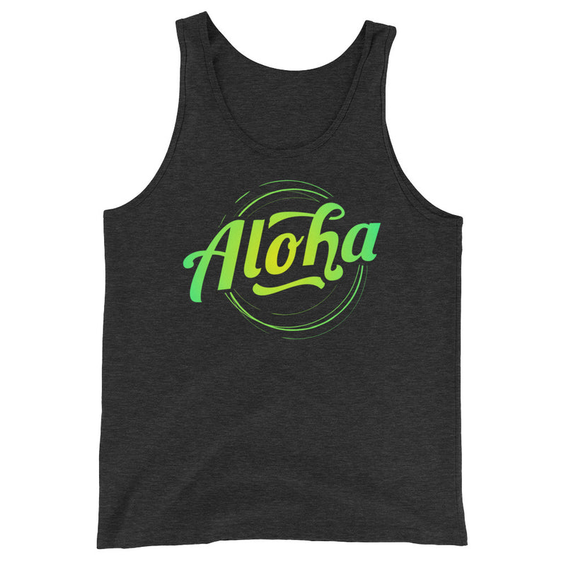 """Aloha"" (neon green logo) men's/unisex tank top"