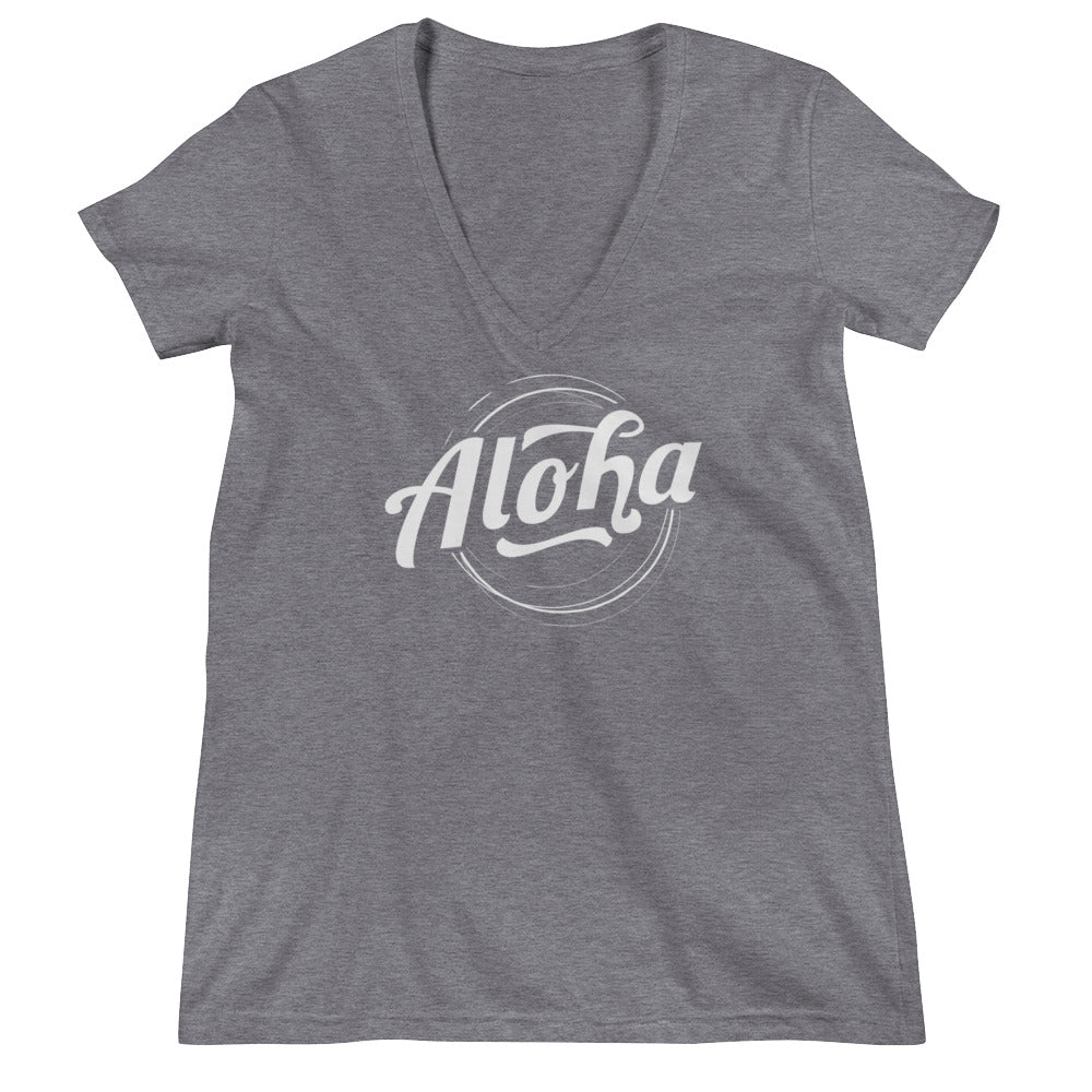 """Aloha"" (white logo) women's deep V-neck t-shirt"