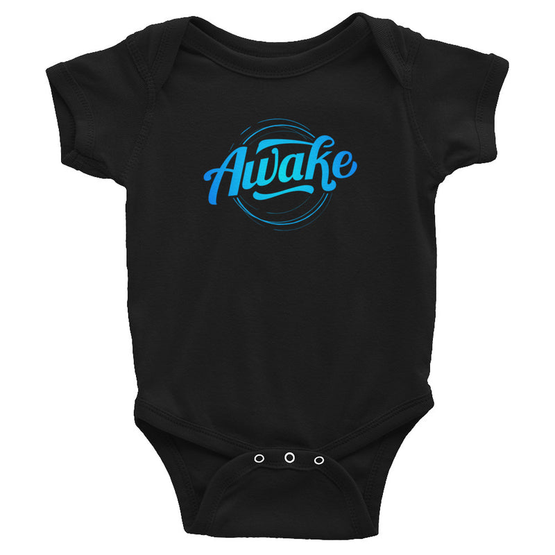 """Awake"" (neon blue logo) infant onesie"