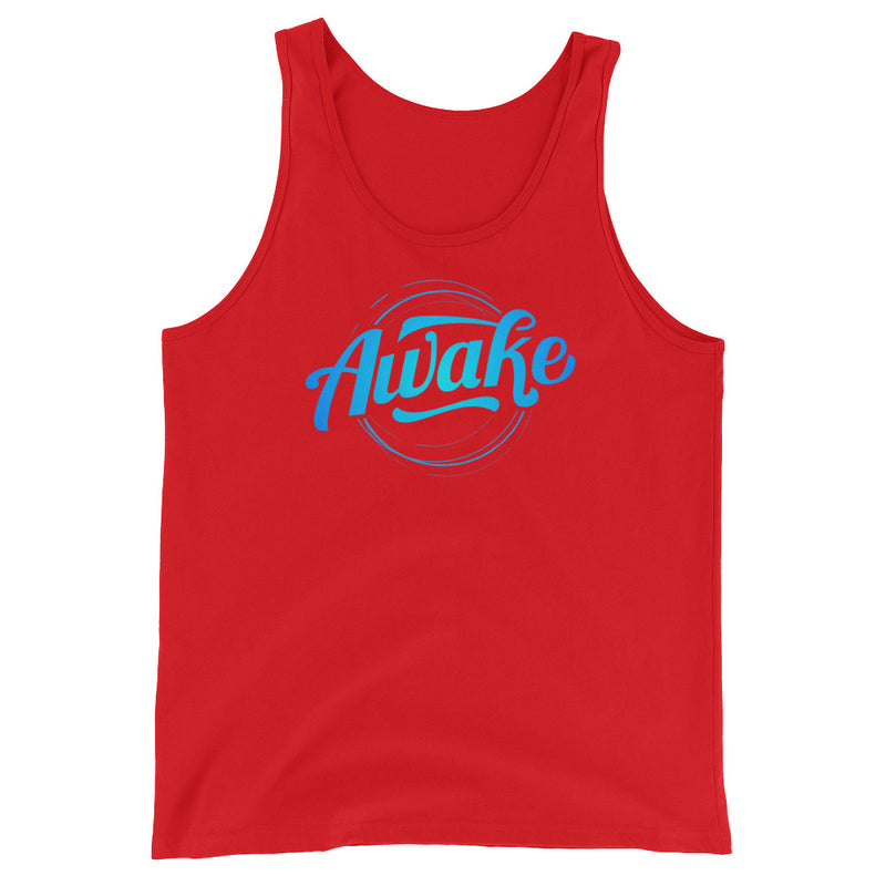 """Awake"" (neon blue logo) men's/unisex Tank Top"