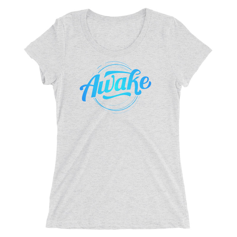 """Awake"" (neon blue logo) women's short sleeve t-shirt"