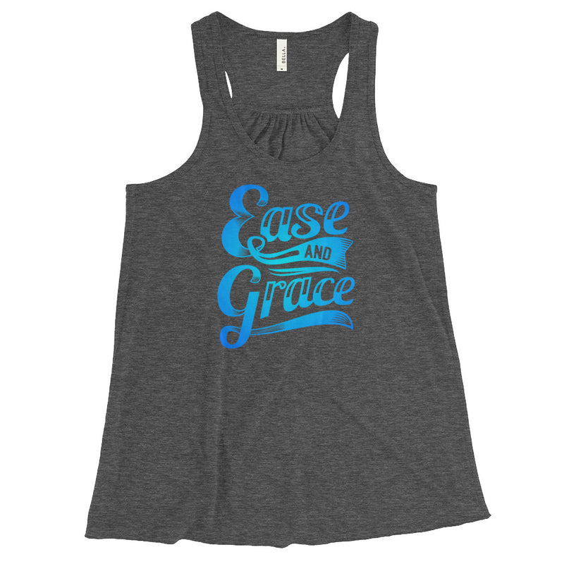 """Ease and Grace"" (neon blue logo) women's flowy racerback tank"