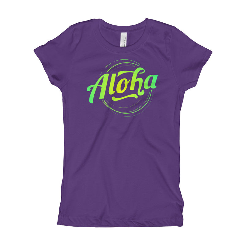 """Aloha"" (neon green logo) girl's t-shirt"
