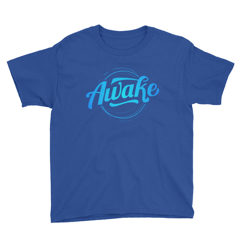 """Awake"" (neon blue logo) boy's t-shirt"