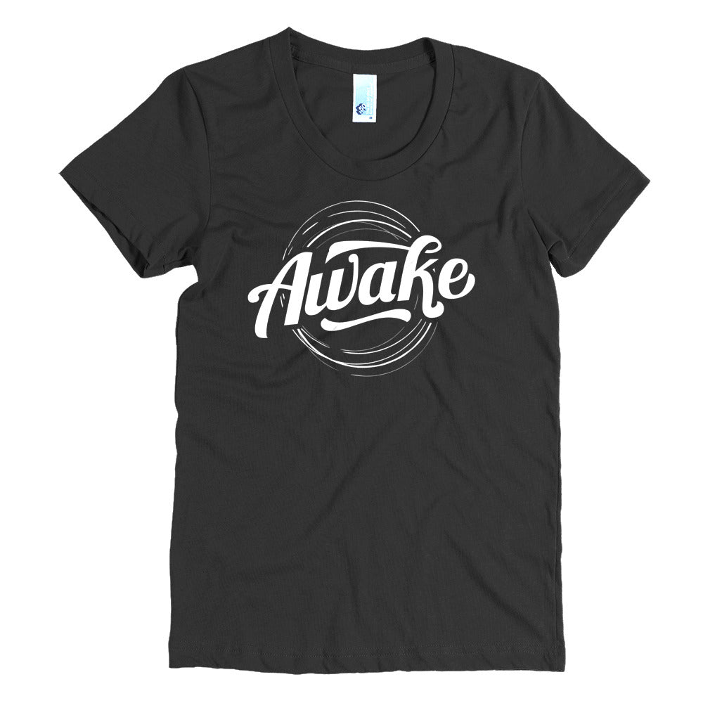 """Awake"" (white logo) women's crew neck t-shirt"