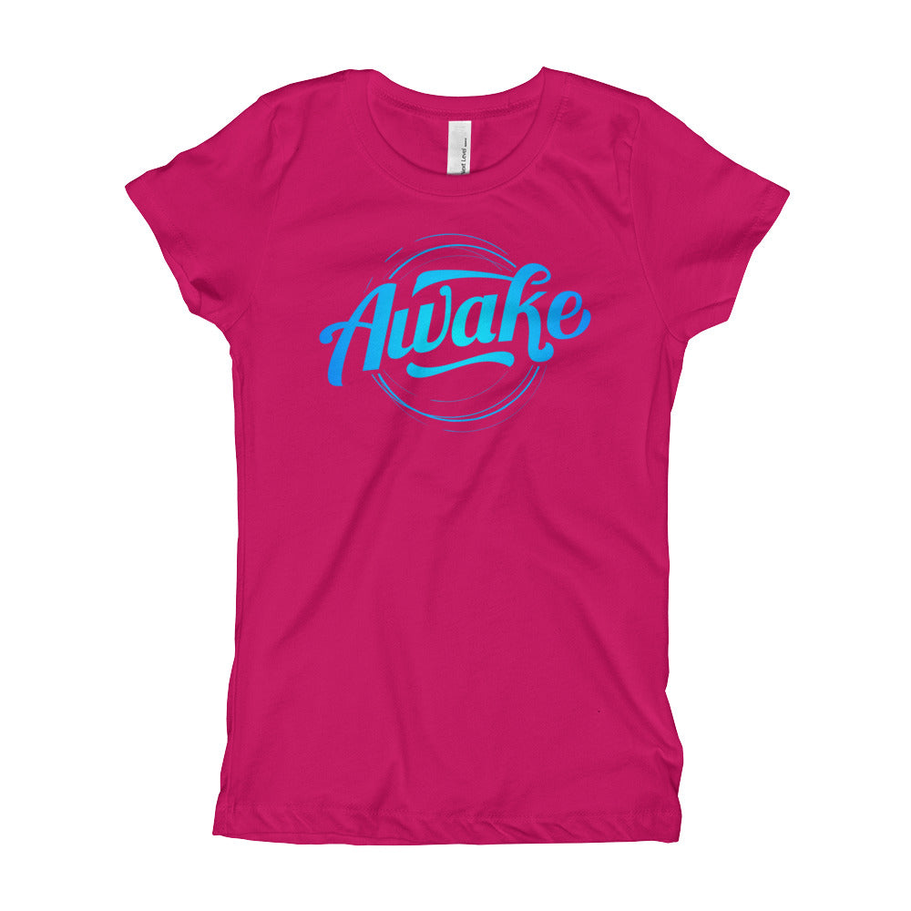 """Awake"" (neon blue logo) girl's t-shirt"