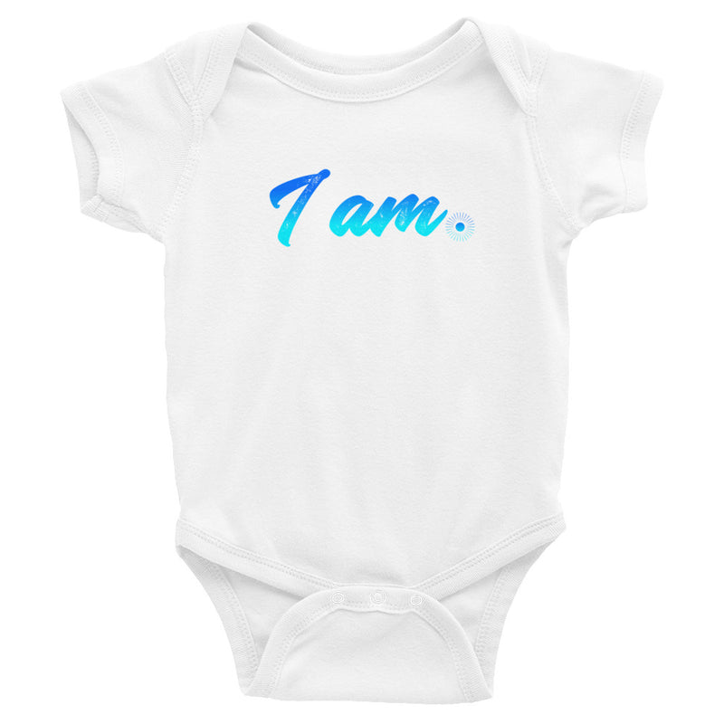 """I Am"" (neon blue logo) infant onesie"