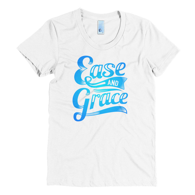 """Ease and Grace"" (neon blue logo) women's crew neck t-shirt"