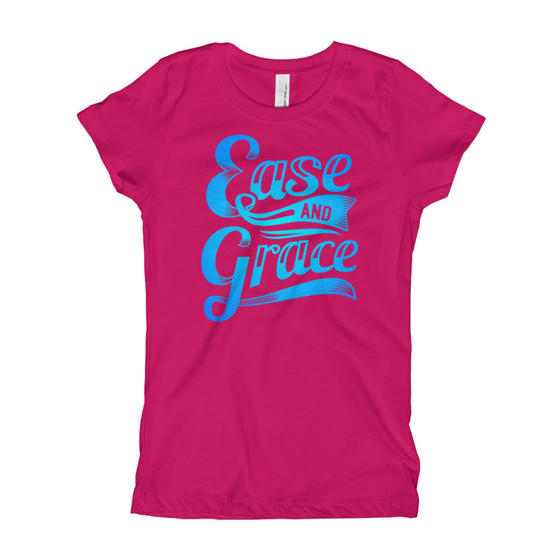 """Ease and Grace"" (neon blue logo) girl's t-shirt"