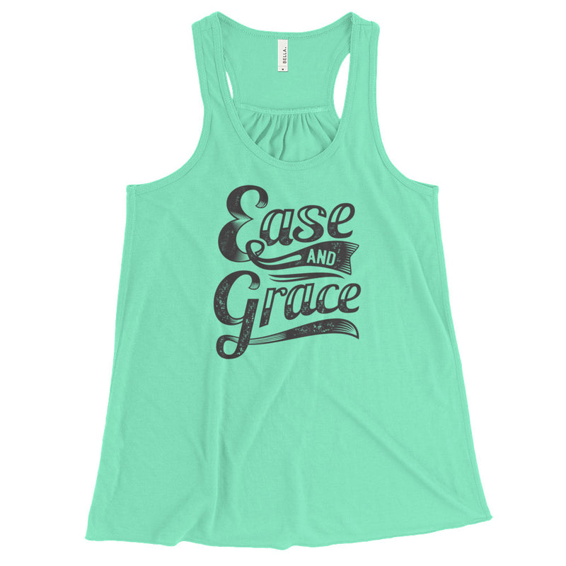 """Ease and Grace"" (black logo) women's flowy racerback tank"