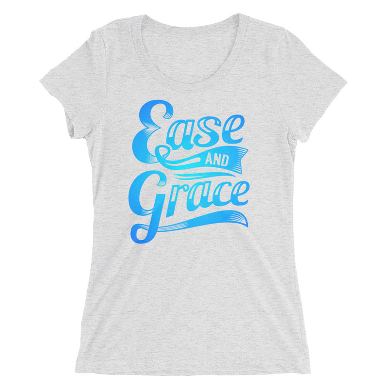 """Ease and Grace"" (neon blue logo) women's short sleeve t-shirt"