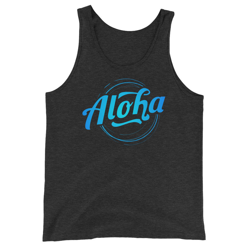 """Aloha"" (blue neon logo) men's/unisex tank top"